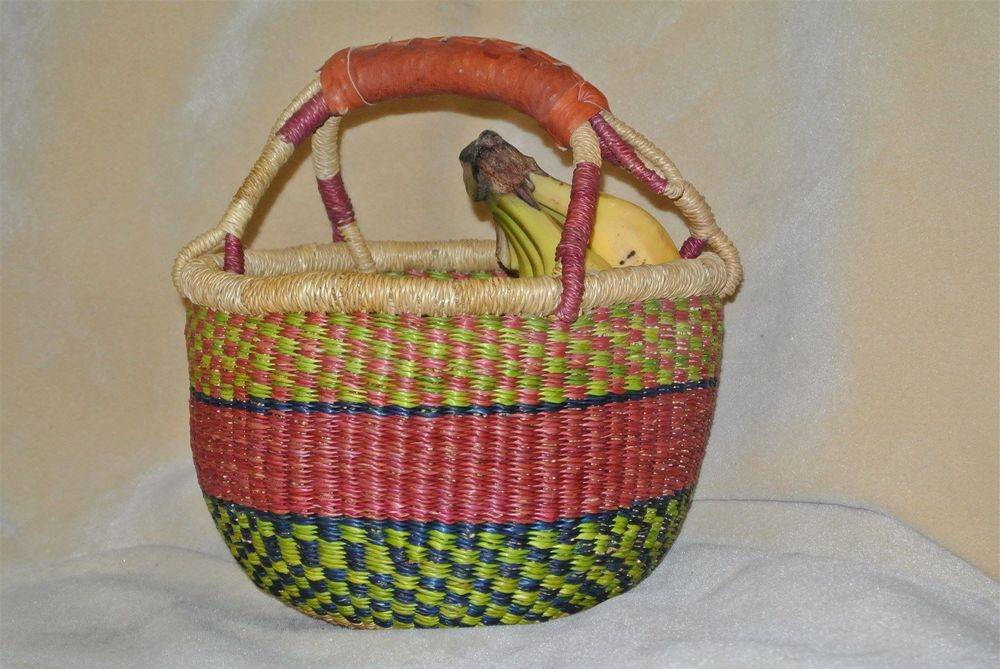 "Mini Bolga Basket 7""-9"" diameter. One goat hide leather handle. Grade A/(Extra smooth inside). No choice of color. CLICK ON IMAGE TO ENLARGE."