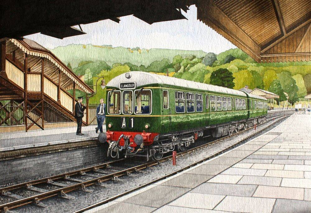 Deisel Multiple Unit (DMU) at Llangollen railway (Image approx 44 x 30 cms) : Watercolour painting For sale at £350