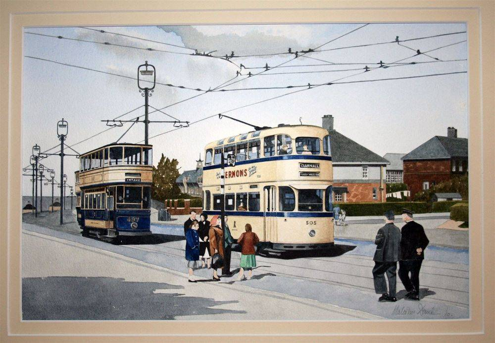 Sheffield Roberts Car No 505 and Standard No 497 : This scene is on Prince of Wales Road. The junction in the picture still exists today as does the house to the right of 505 and the school behind. The road has undergone major changes just beyond this scene. This painting is available for purchase at £250