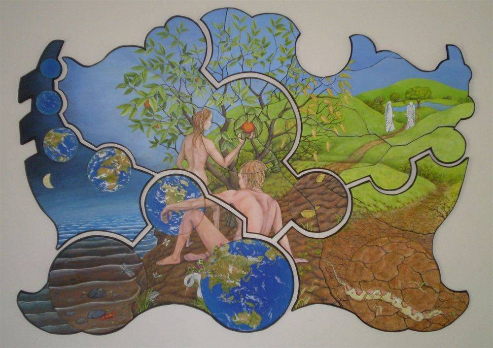 Creation, Temptation and Fall, Biblical Art, Adam and Eve, Painting