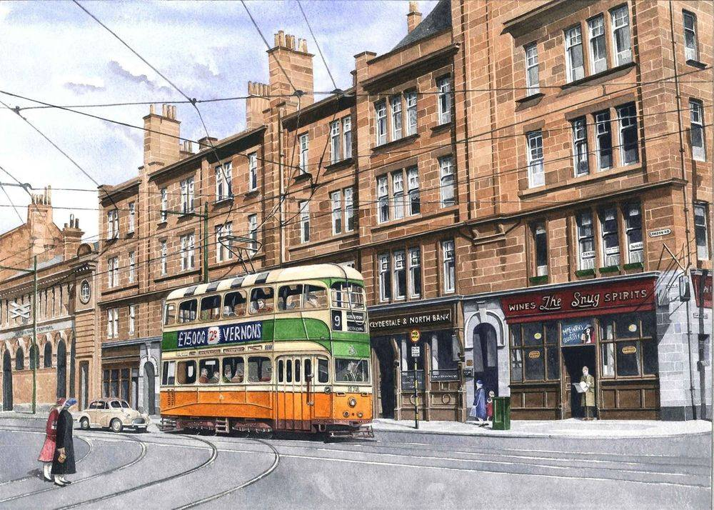 """Print 2: Glasgow Street Scene : Glasgow Coronation Car No 1174 on London Road approaching Brigeton Cross. All prints are signed by the artist. The print is currently available at the price of £22 (unmounted). Prints will be sent carefully packed into strong cardboard tube. Postage & Packing charges are £4.00 per order (Limited to 4 prints per tube). To order please go to the """"Shop"""" page. Print size mounted is 50 x 40 cms"""