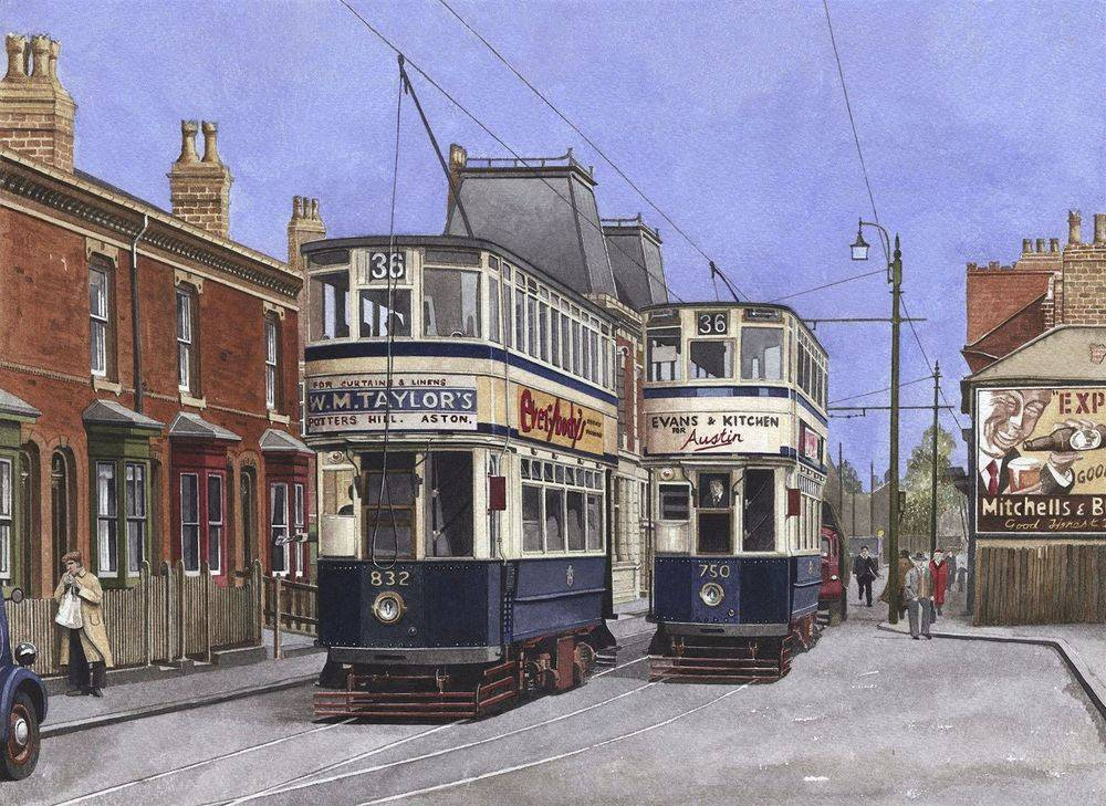 """Print 4: Birmingham Street Scene : Two Birmingham cars No 750 and 832 on """"Pershore Road"""" just in front of the Dogpool Pub / Hotel. All prints are signed by the artist. The print is currently available at the price of £22 (unmounted). Prints will be sent carefully packed into strong cardboard tube. Postage & Packing charges are £4.00 per order (Limited to 4 prints per tube). To order please go to the """"Shop"""" page. Print size mounted is 50 x 40 cms"""