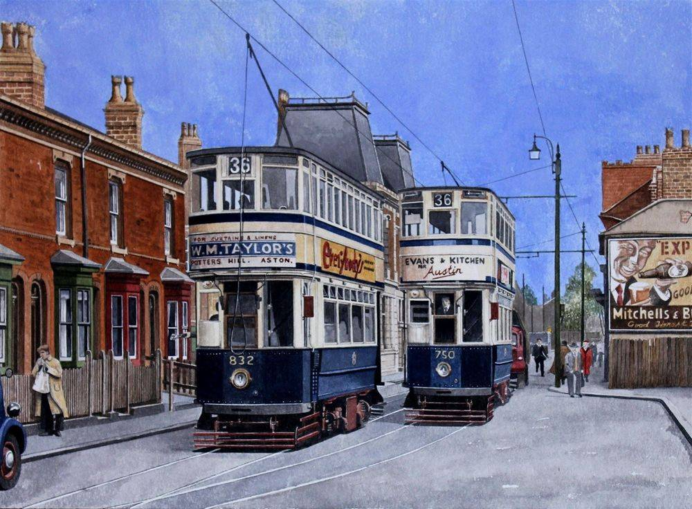 """Birmingham trams Nos 832 and 750 on Pershore Road : The buildings to the left of car 832 still exist as does the public house """"Dogpool"""" in the background. the road layout is also unchanged. This painting is available for purchase at the cost of NOT FOR SALE"""
