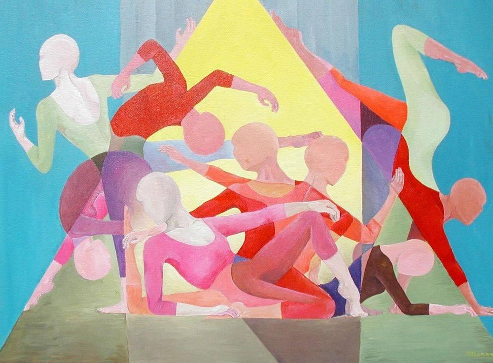 Dance Troupe, Gymnast, Dancers, Painting, Art, Cubism, Manasse