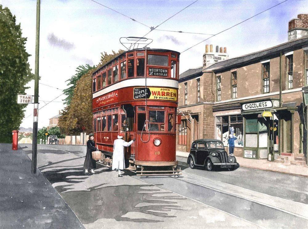 Leeds Chamberlain tram on Harrogate Road, Leeds. Watercolour. Mounted 50 x 40 cm (20 x 16 inches) : £250