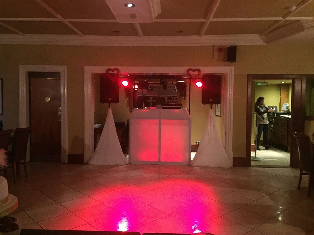 Silver DJ Package set up for a birthday party in NantwichParty, Mobile Disco, Southport, DJ, Wedding, Karaoke, Birthday, Race Night, Event, Glynn Tee