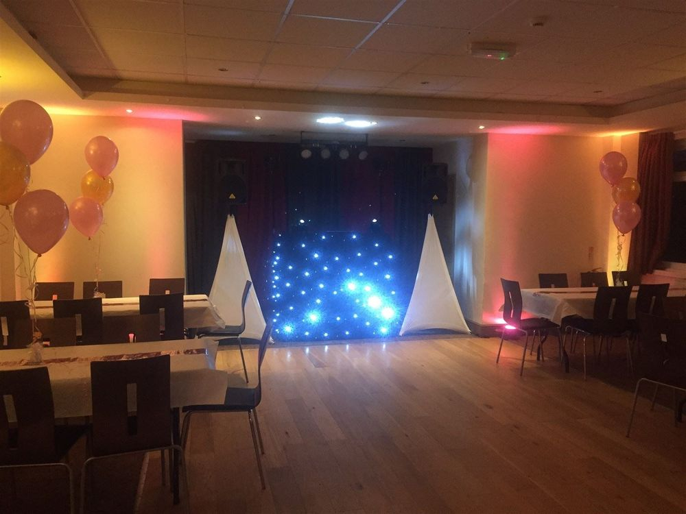 Bronze Plus DJ Package set-up with uplighting at Cheadle Kingsway Sports ClubParty, Mobile Disco, Southport, DJ, Wedding, Karaoke, Birthday, Race Night, Event, Glynn Tee