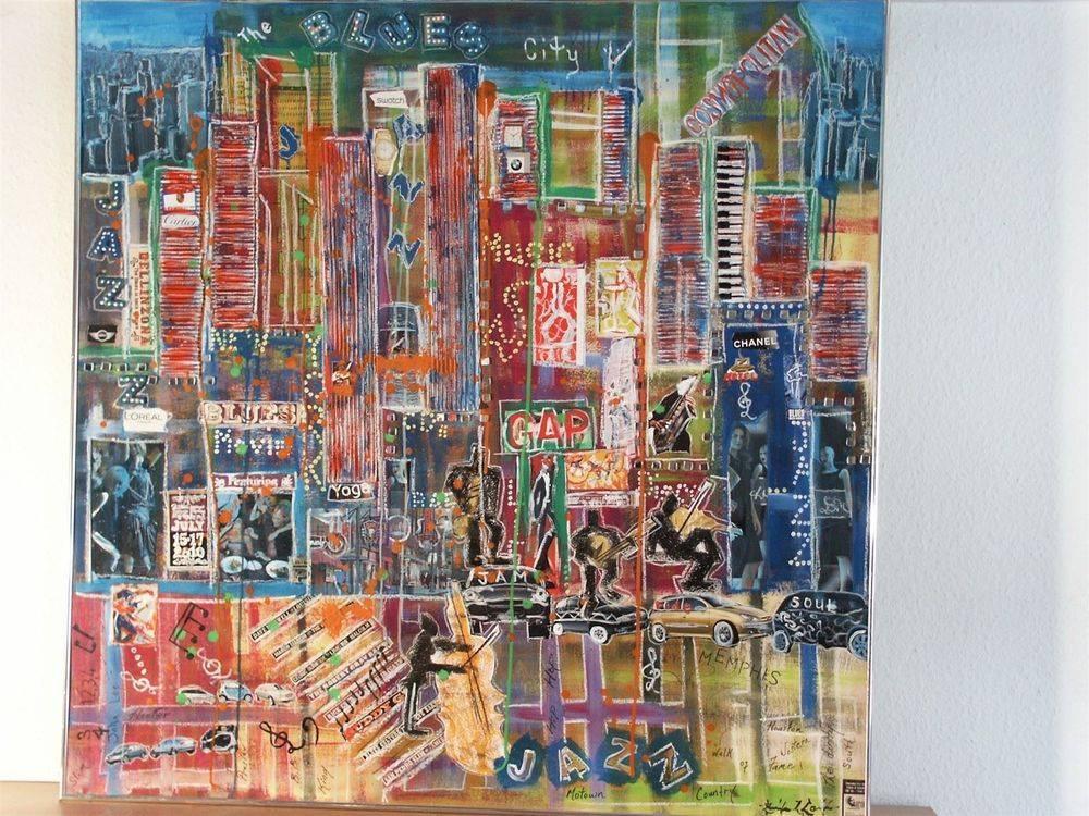 Blues City : Collage on backboard 118 x 118 cm