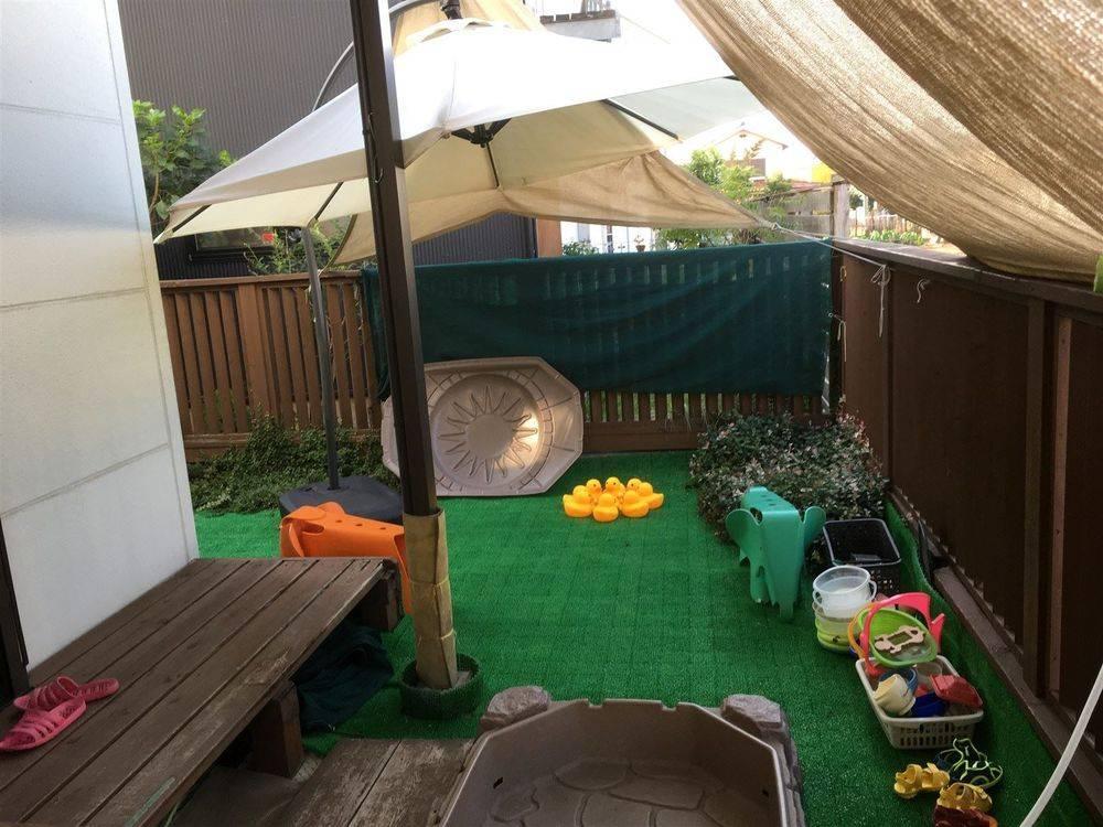 水遊び 夏季はお庭で水遊び(温水)が出来ます。 塩素は使用していないため、 また、溺水事故防止、水深コントロールの為に ため水にせず流水での水遊びです。 確実にスタッフ二人で対応し、一人は 子どもに張り付きの体制で安全確保をしています。 畑からの柔らかい風を受けながら お庭全面に日よけを配置。 お子様の体に負担のかからない形で 楽しく夏を満喫します!