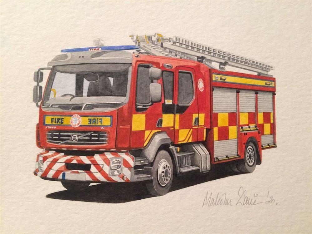 UK Fire Engine (Watercolour) : £40