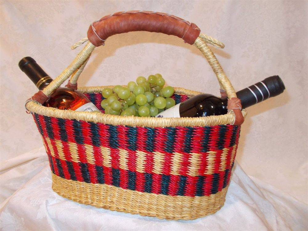 "Wine/Bread Basket One goat hide leather handle. 7""Hx13""Wx7""D. Grade B. No choice of color. CLICK ON IMAGE TO ENLARGE."
