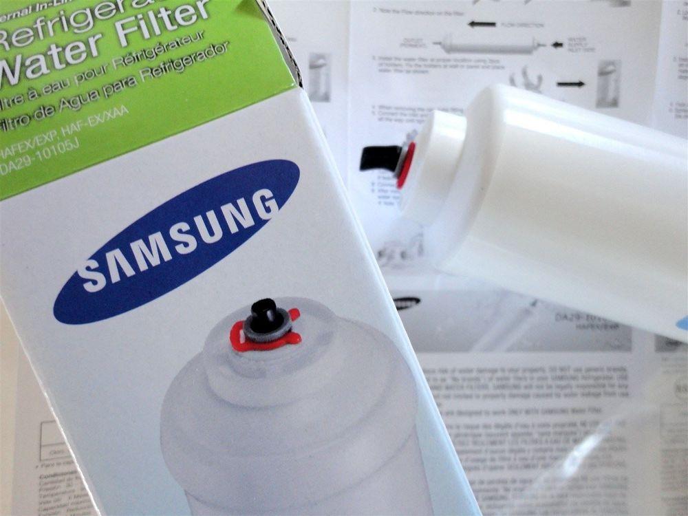 Samsung HAFEX/EXP external inline refrigerator fridge ice water filter cartridges - part number DA29-10105J - base view - sold AAA FilterFast