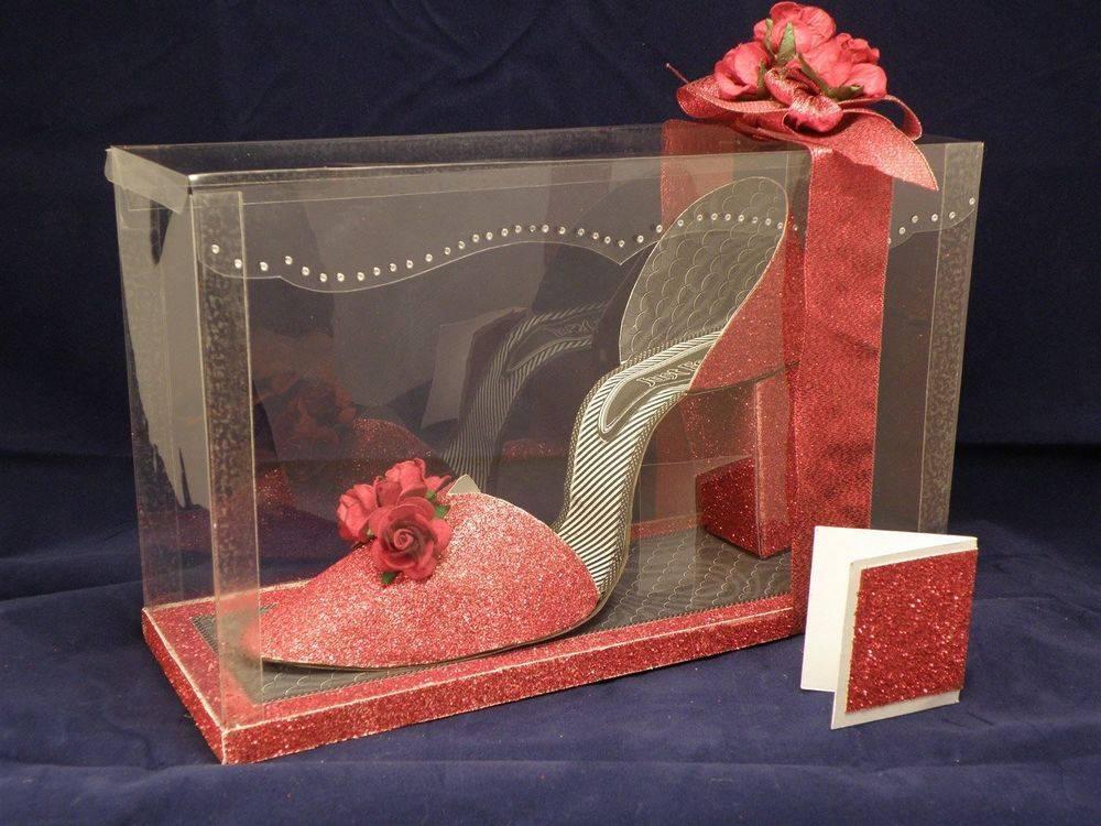 I Love Shoes - Red Glitter - 3D shoe & box