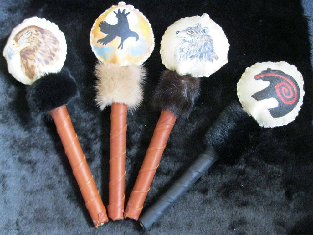 Native American, Hand painted, rattles, eagle, bear, gray wolf