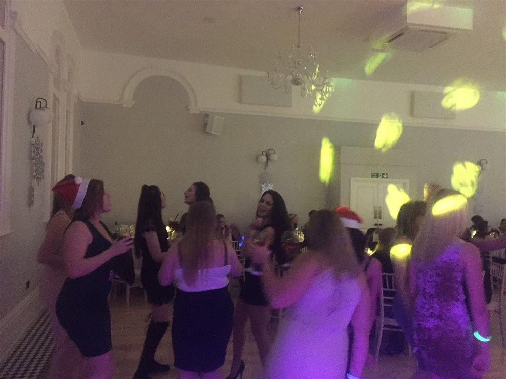Southport DJ, Glynn Tee, filling the dance floor at a Christmas Party at Village Point, Stockport