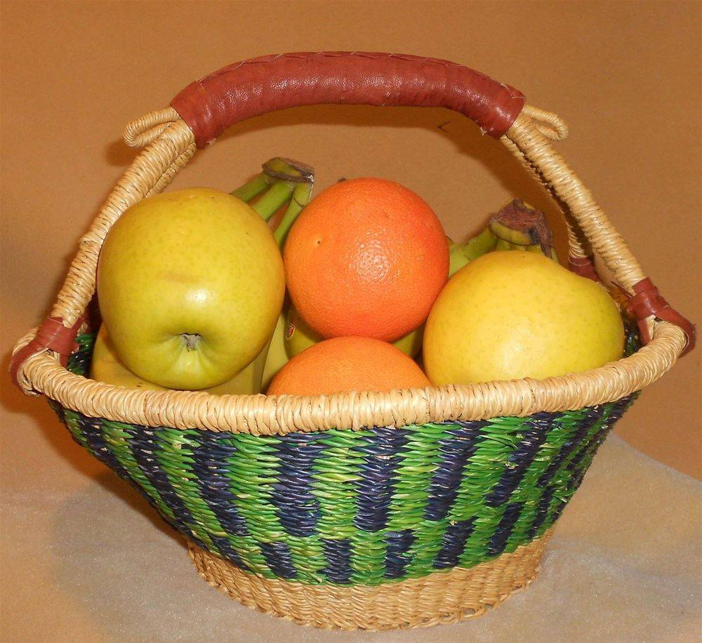 "XL Fruit Basket One goat hide leather handle. Diameter 13"". Grade B. No choice of color. CLICK ON IMAGE TO ENLARGE."