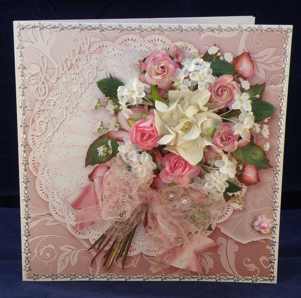Pink Roses Bouquet on a Frilly Lace Doily
