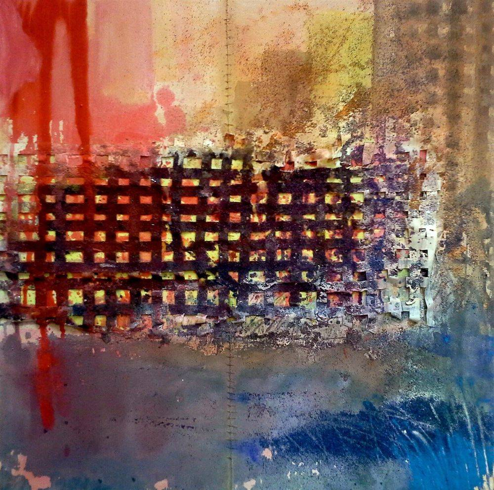 a reflection after 1967 Detroit Riot, 24 x 24 inch
