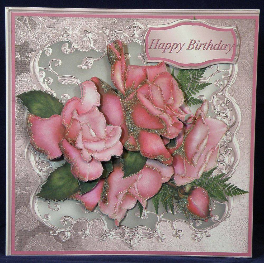 Pink Roses with Metalic Frame