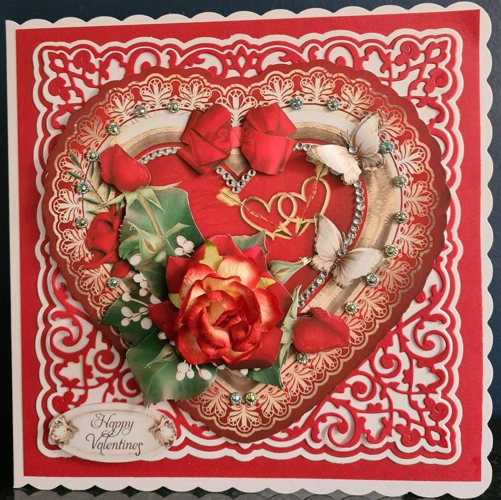 Valentine Entwined Hearts - 8 x 8 decoupaged box card