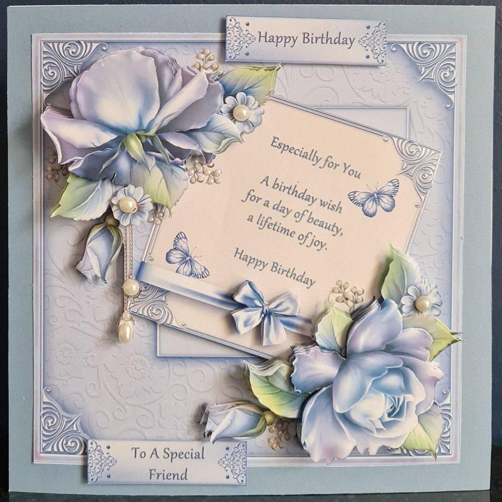Birthday Message & Blue Roses