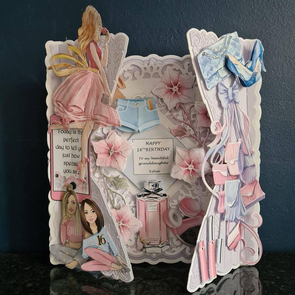 Sweet Sixteen - 7 x 7 Gate Fold fronted decoupaged card
