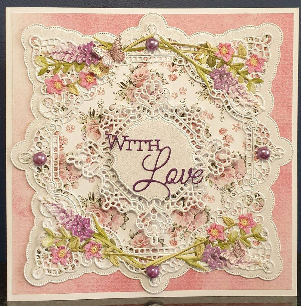 Square Frame with Bouquet Collection Flowers