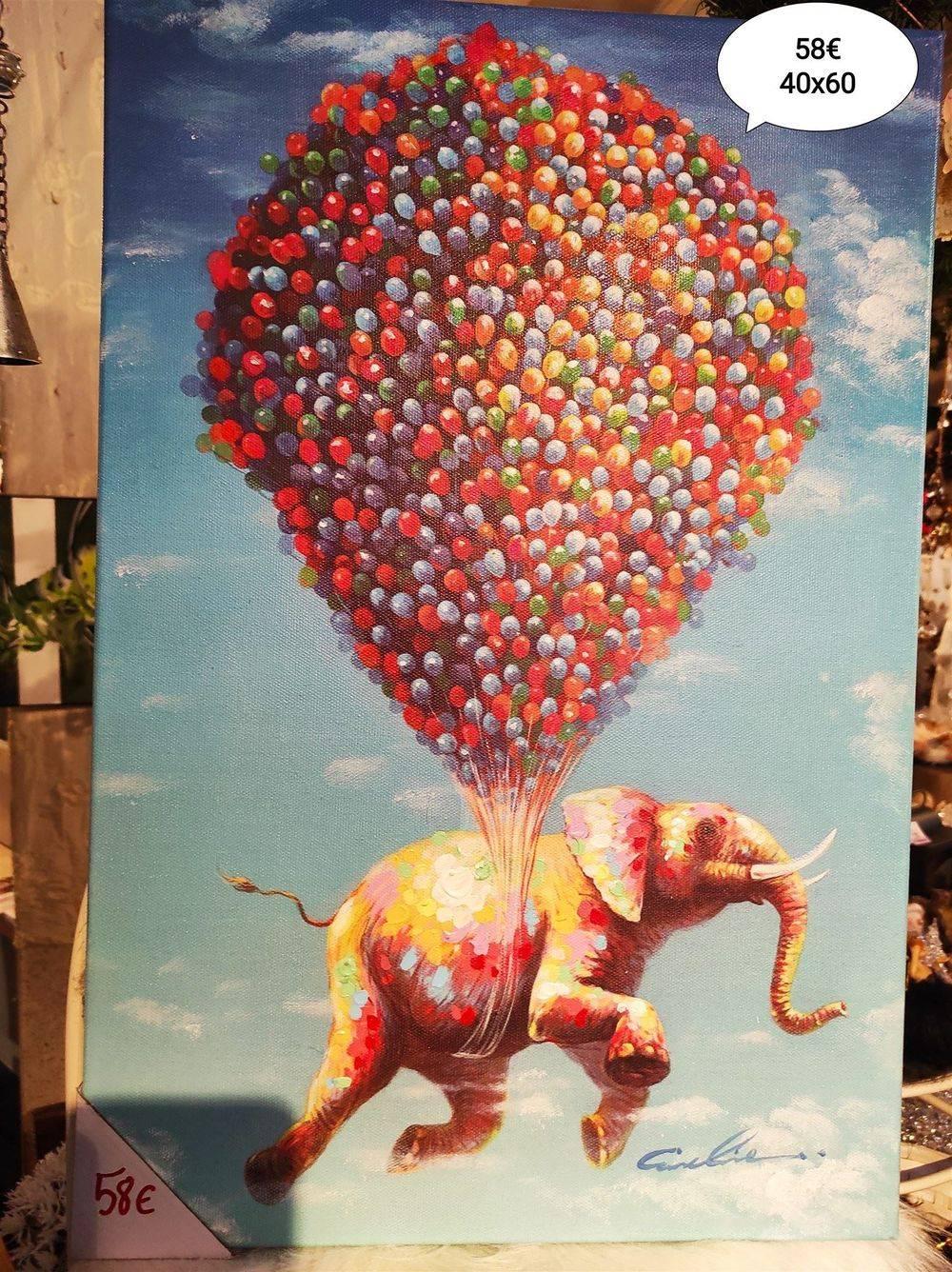 Tableau éléphant volant 40 x 60 cm