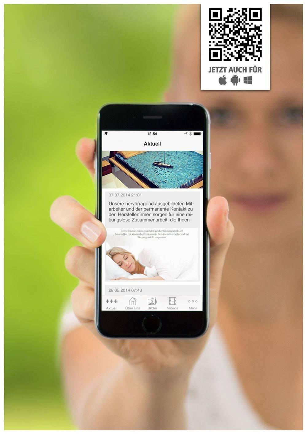 Professionelle Dienstleistungen rund ums Wasserbett als App erhältlich im App Store und Google Play