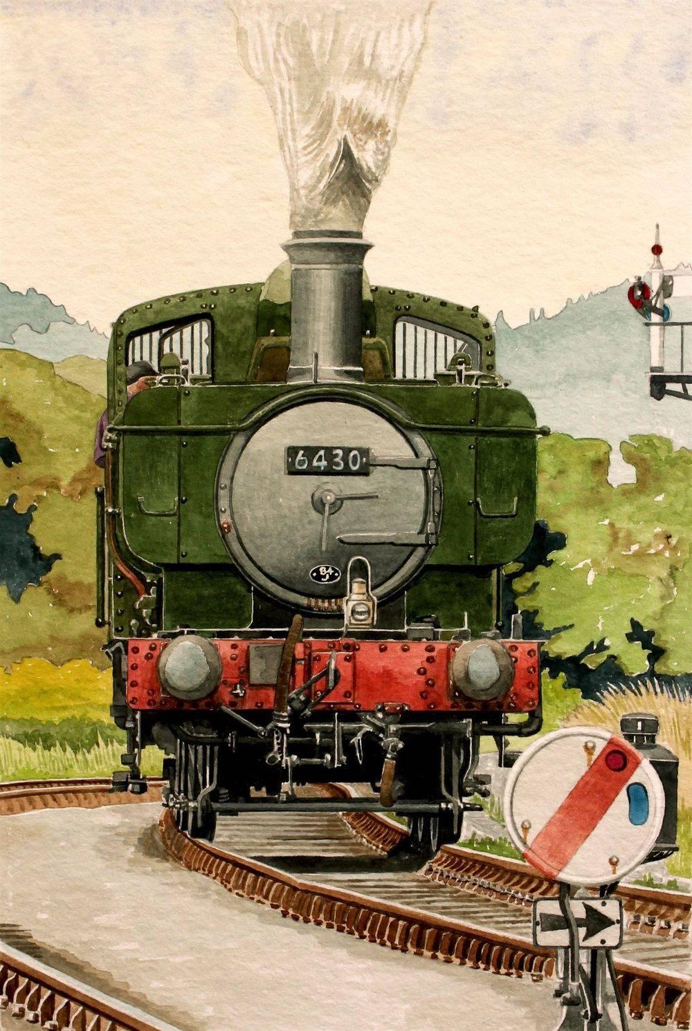 0-6-0 Pannier Tank Engine on the Llangollen railway (Image Approx 30 x 22cms) : Watercolour £135