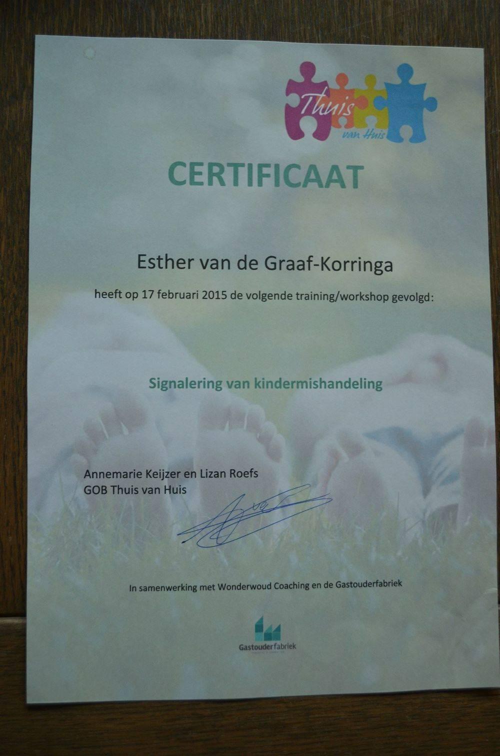 Certificaat Signalering van kindermishandeling.