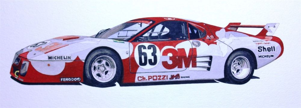 Ferrari 512 BB Le Mans (Watercolour): SOLD