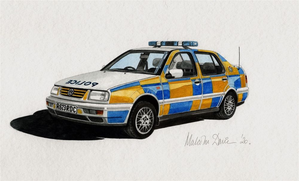 VW 2.8 VRS Vento in Cleveland Police colours - Watercolour : Commission - SOLD