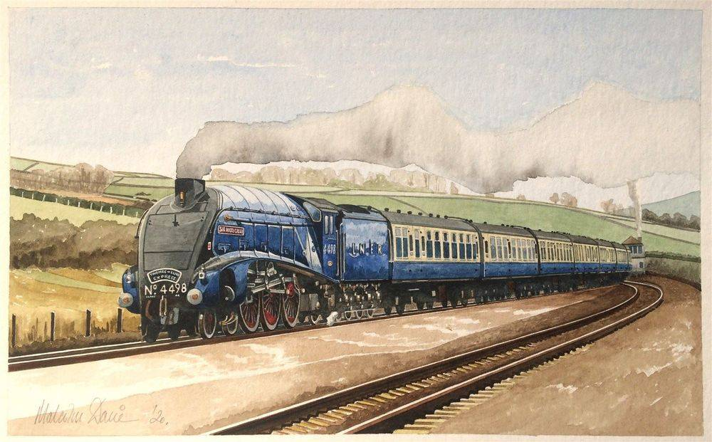 Sir Nigel Gresley at speed (Watercolour) : COMMISSION - SOLD