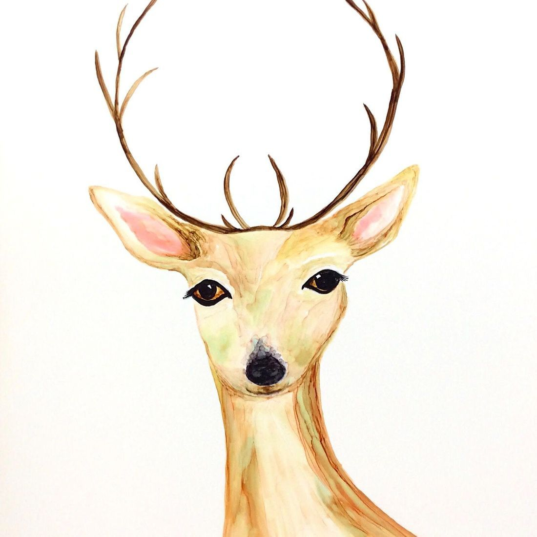Deer Nursery Art; Alcohol Ink Painting