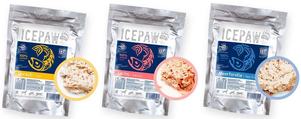 Icepaw wetfood cod salmon sea trout natvoer Ellen's Happy Dogs