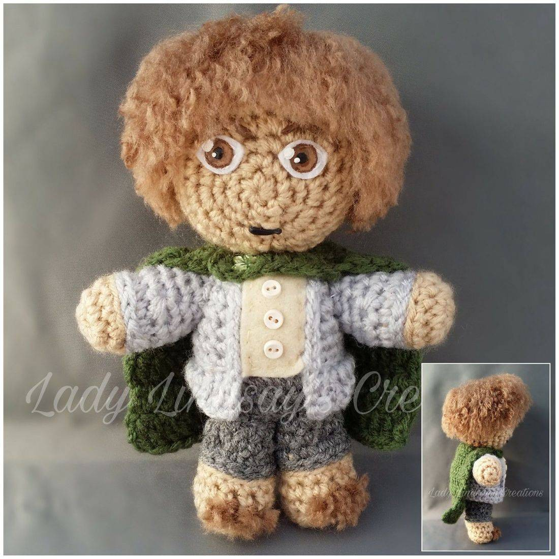 Sam, Samwise, Samwise Gamgee, Sean Astin, Amigurumi, Plush, Doll, Crochet, handmade, craft, artisan,  Lord of the Rings, The Hobbit, Shop Small