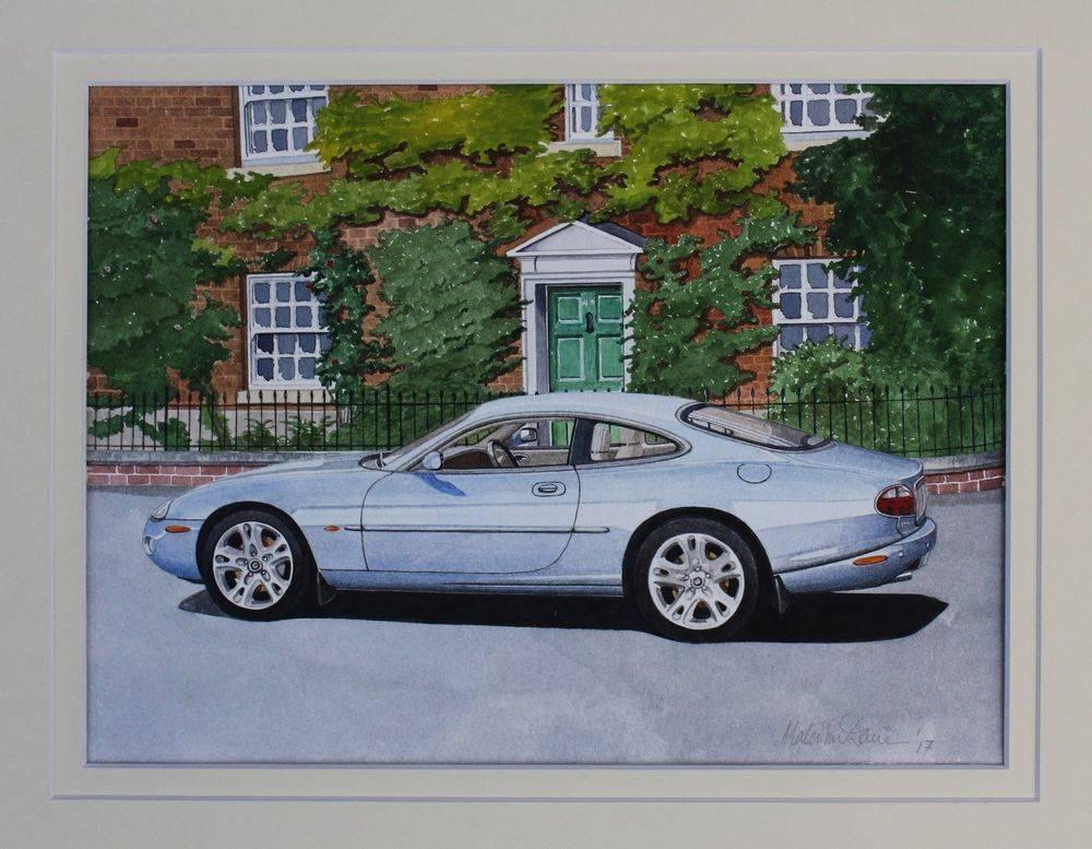 Jaguar XK8 at Nantwich, Cheshire Double Mounted 42 x 35 cms Watercolour : £125