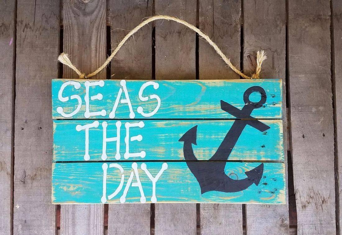 USA Handmade Reclaimed Pallet Wood Beach Sign Decor Anchor Sea