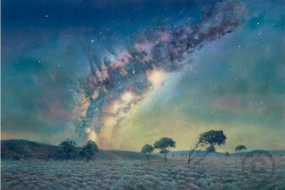 Nocturnal Night Milky Way Oil Painting Giclee Print