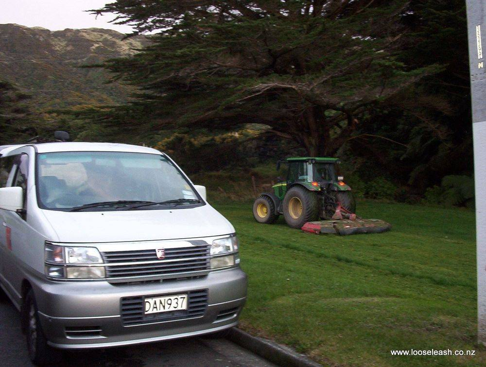 The Van used in our Dog Walking Business in Ngaio at Silverstream Park / Huntleigh Park WCC Tractor mowing the Dog Park grass Photo by Loose Leash Dog Walking Service Newlands Johnsonville Wellington