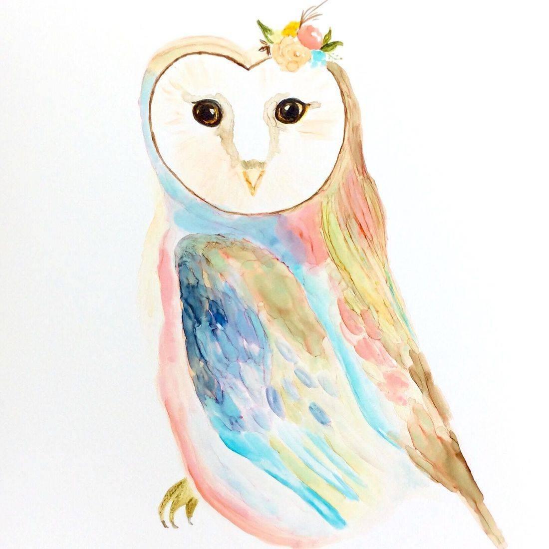 Owl Nursery Art, Alcohol Ink Painting, Custom orders