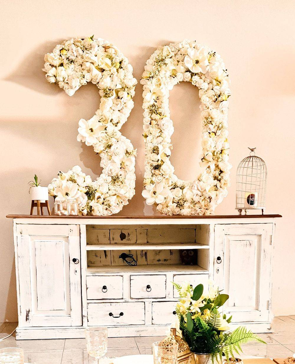 Large Floral 30th Birthday Numbers