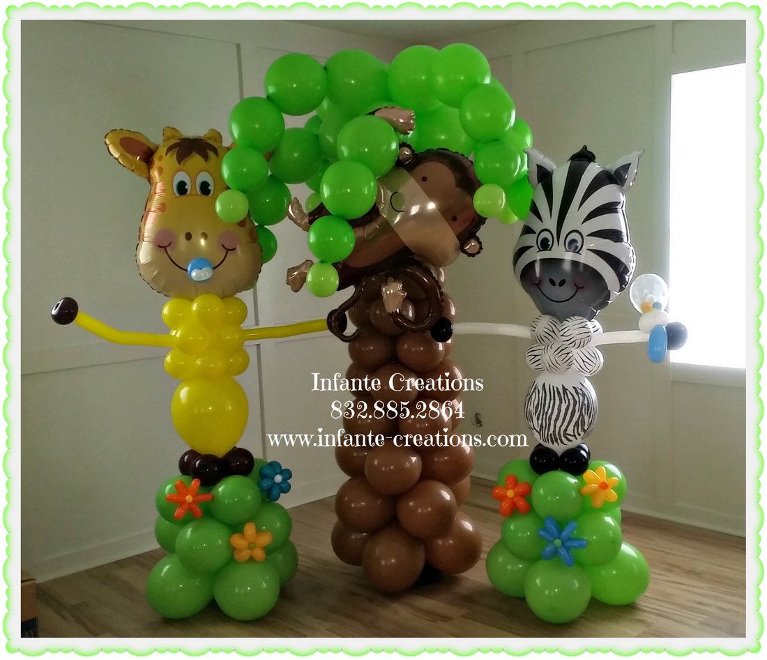 Safari, Baby Shower, Balloons, Zebra, Monkey, Giraffe