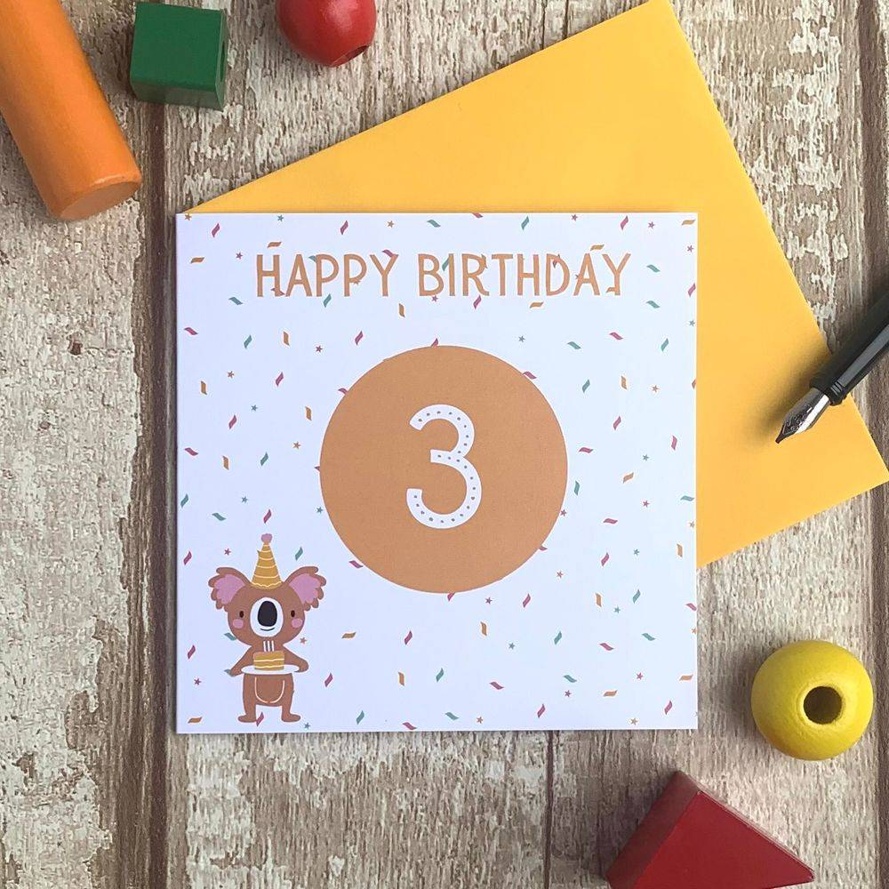 Third 3rd birthday card bear balloons