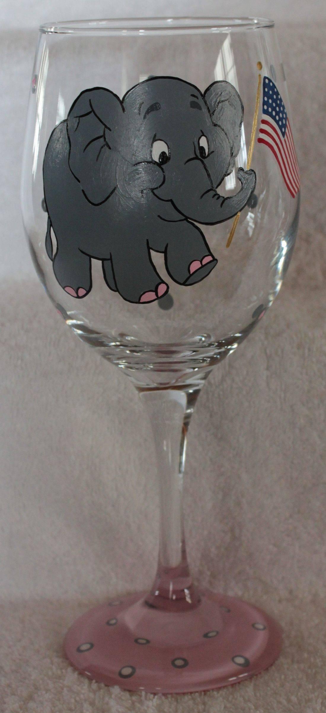 elephant wine glass, patriotic wine glass, republican wine glass