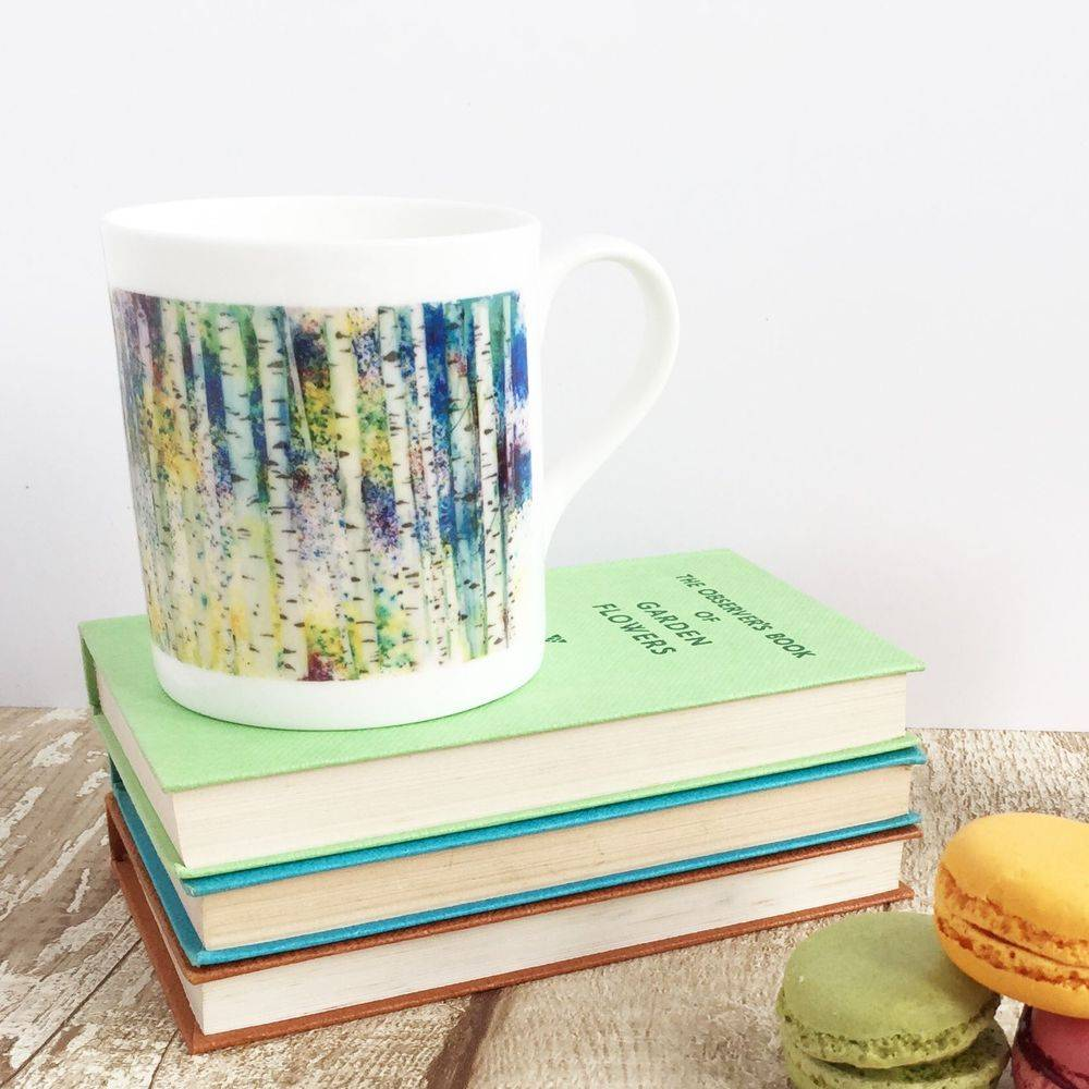 Birches silver multicoloured trees mug cup watercolour painting
