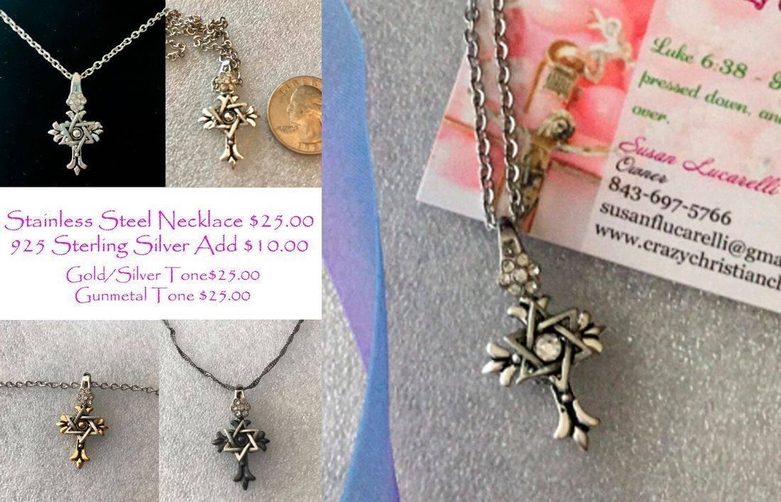 Religious, Star of David, Christian Cross Necklace, Women's Cross Necklace, Women's Star of David, Women's Necklace, Stainless Steel and Silver Necklace, Charity