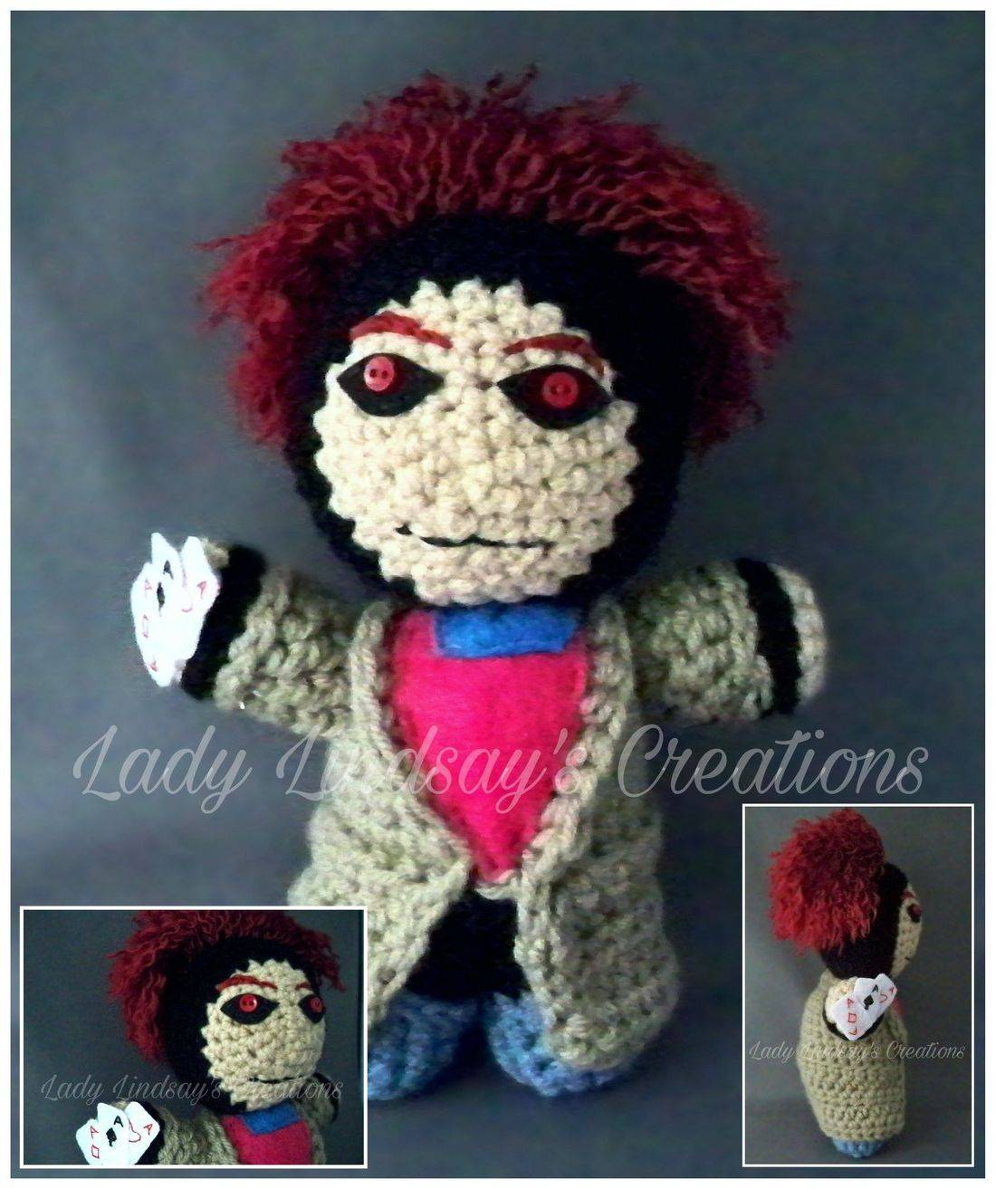 Gambit, Remy Lebeau, XMen, Comicbook, nerd, geek, otaku, anime, crochet, handmade, amigurumi, plush, doll, shop small,  halloween