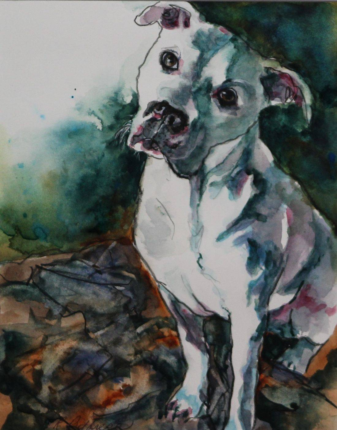 Watercolor painting by Rebecca/Becky Krutsinger pet portrait/dog
